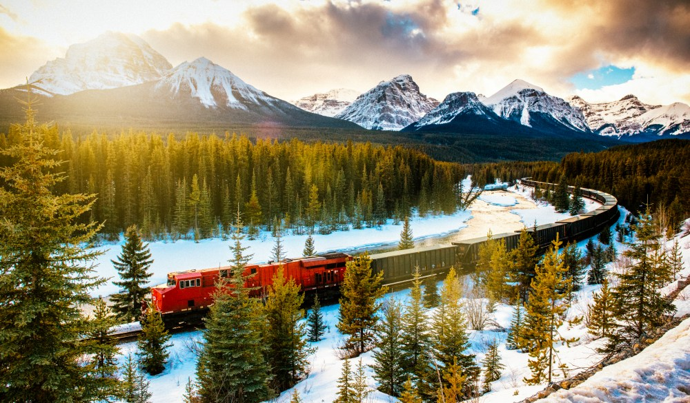 Canadian Pacific Railway Train through Banff National Park Canada, scenic train ride