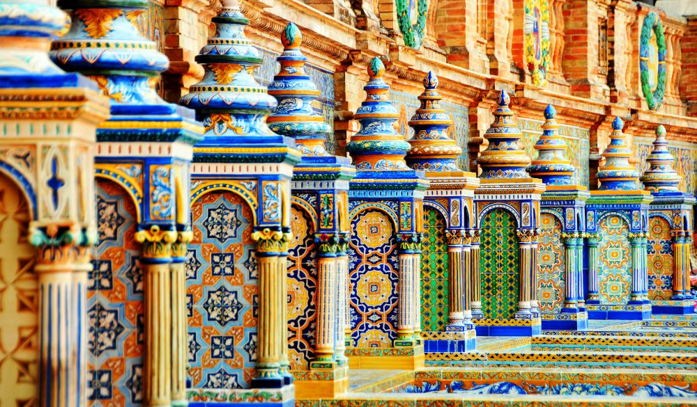 Ceramic balustrade, Seville, Andalusia, Spain