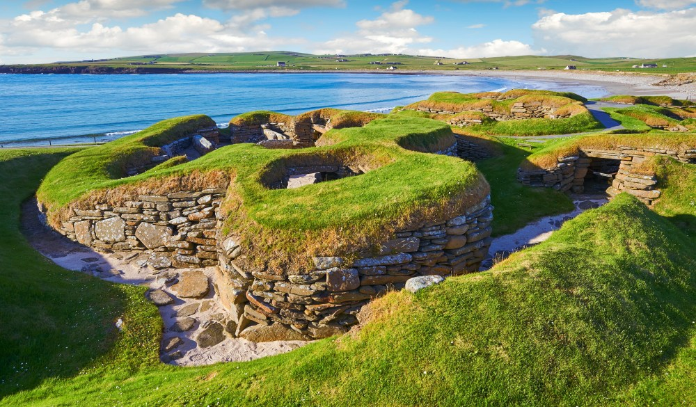 The neolithic settlement of Skara Brae, circa 3000 BC, the best preserved groups of prehistoric houses in Western Europe, UNESCO World Heritage Site, Orkney, Scotland, United Kingdom, scottish highlands road trip destinations