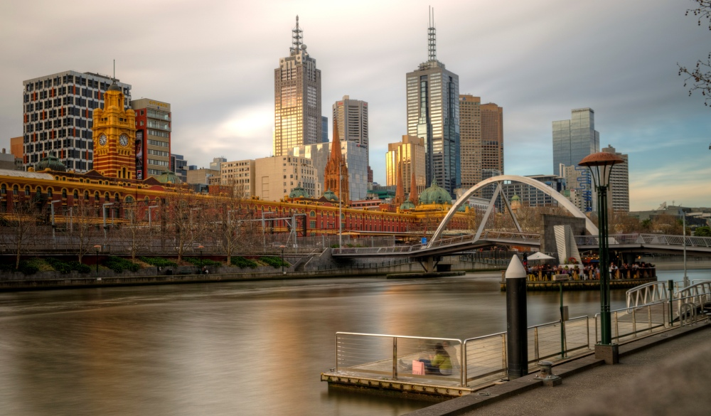 Melbourne city view from Southbank pier
