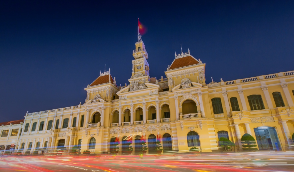 The people's committee building in Ho Chi Minh City Vietnam.