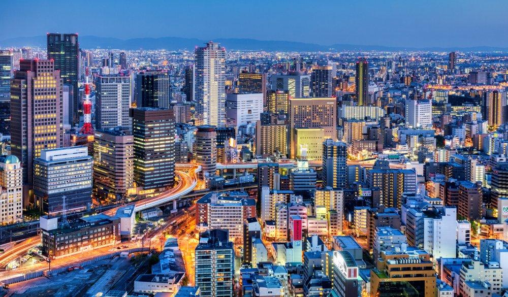 Japan Osaka. Cityscape at sunset