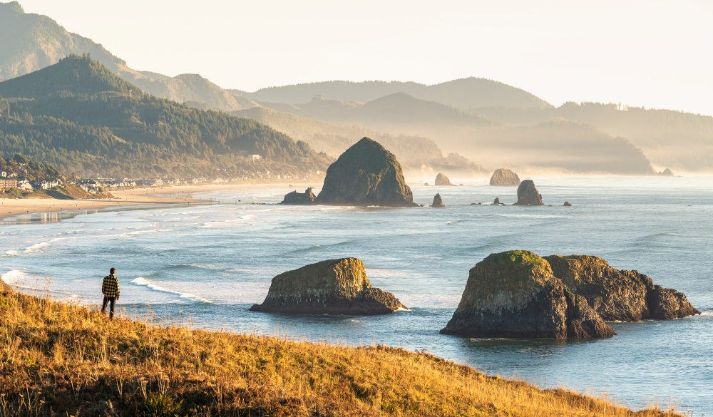 Man looking at view, Ecola State Park, Cannon Beach, Oregon, USA.