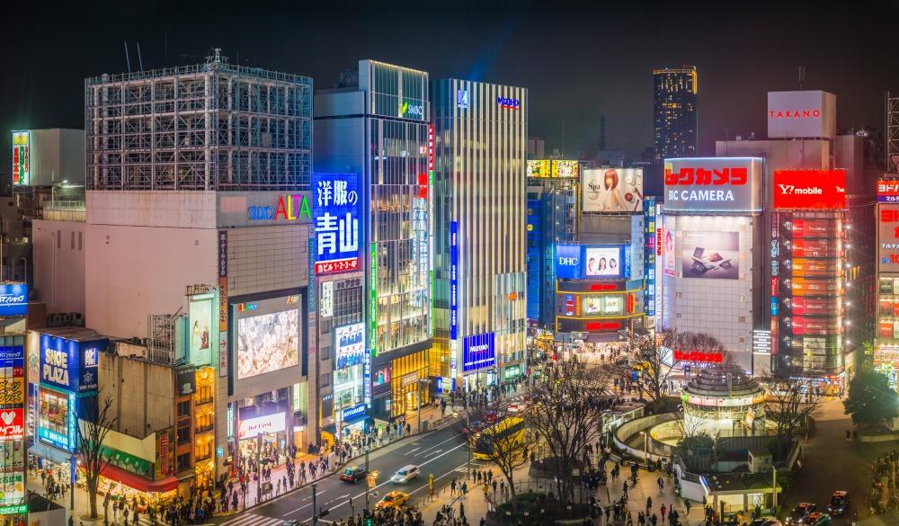 crowded sidewalks of Shinjuku