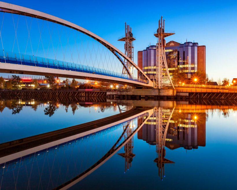 Millenium Bridge in Manchester England UK Millenium Bridge