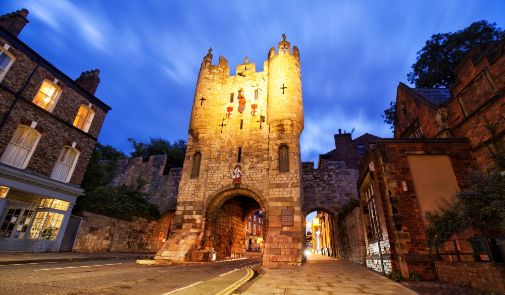 Micklegate Bar at night in York, United Kingdom