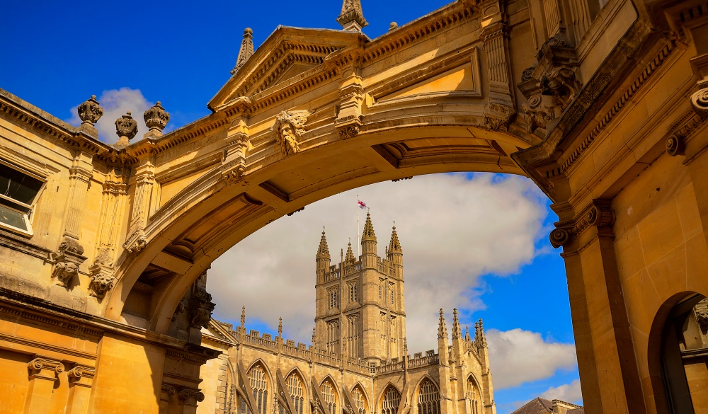 York Street arch and Bath Abbey, Bath, Somerset, United Kingdom