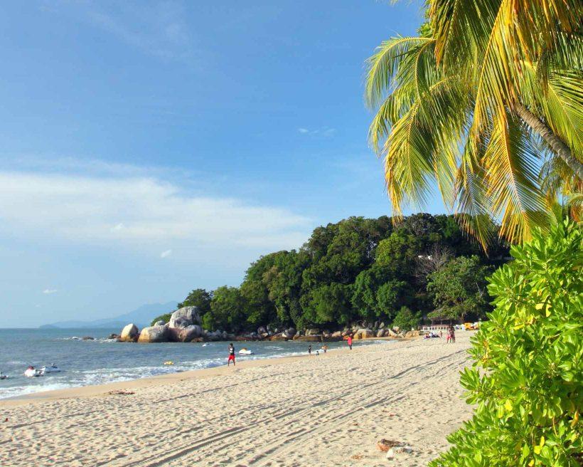 Sandy beach in Batu Ferringhi, Penang Island, Malaysia